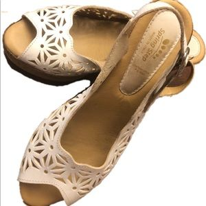 Shoes - White wedge sandals size 8.